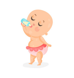 adorable cartoon baby girl drinking milk in a vector image vector image