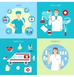 Flat Medicine Composition Set vector image vector image