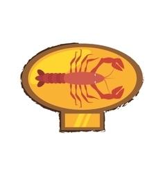 Lobster sealife exotic food golden emblem vector