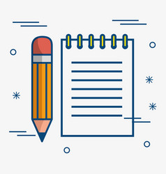 notepad and pencil icon vector image
