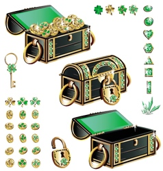 treasure chest with emerald ornament vector image vector image