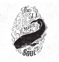 Typography concept with a whale and lettering vector image