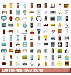 100 furnishings icons set flat style vector