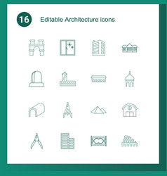 16 architecture icons vector
