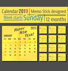 2019 year calendar template yellow memo stick vector image