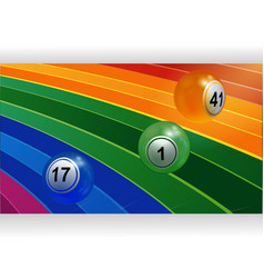3d bongo balls rolling on curved rainbow panel vector