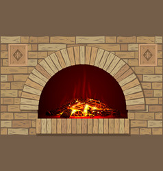 Ancient brick hearth with fire vector