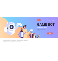 Arabic people in vr glasses playing game bot vector