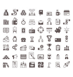 black and white business glyph icons set vector image