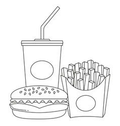 black and white line art poster fast food soda vector image