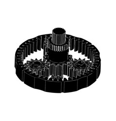 Black planetary gear vector
