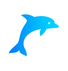 Blue color dolphin icon vector