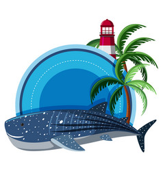 Border template with whale shark and lighthouse vector