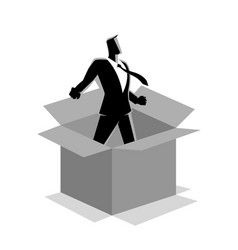 businessman comes out box vector image