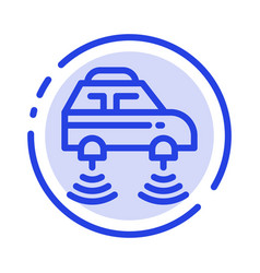 Car electric network smart wifi blue dotted line vector