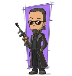 Cartoon cool killer with gun vector