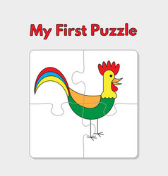 cartoon rooster puzzle template for children vector image