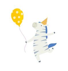 Cartoon zebra with a balloon vector
