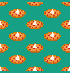 Cherry pie seamless pattern vector