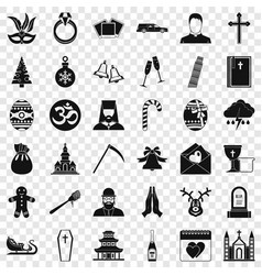 christianity icons set simple style vector image