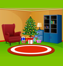 christmas room with bookcase an red armchair vector image