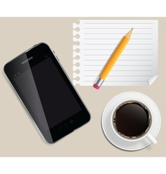 coffee cup with abstract tablet on business vector image