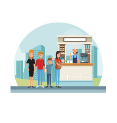 coffee stand at city vector image