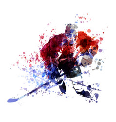 Colorful of hockey player vector