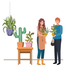 Couple with houseplant on macrame hangers vector