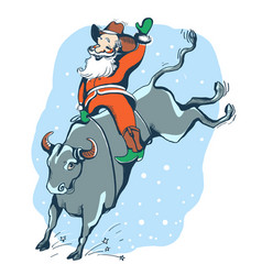 cowboy santa on the rodeowestern rodeo bull vector image