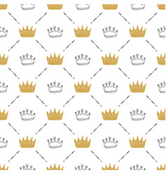Crown seamless pattern hand drawn royal doodles vector
