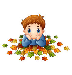 cute little boy with autumn leaves vector image