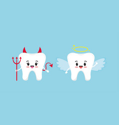 Cute tooth emoji angel and devil isolated on blue vector