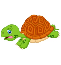 Cute turtle cartoon running vector