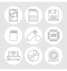 Data storage outline icons vector image