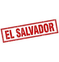 El Salvador red square grunge stamp on white vector