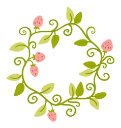 Floral Frame Cute retro berries wreath vector image