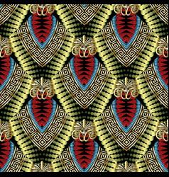 floral geometric greek key meander 3d seamless vector image