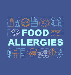 Food allergies word concepts banner allergic vector