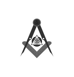 Freemasonry emblem masonic square and compass vector