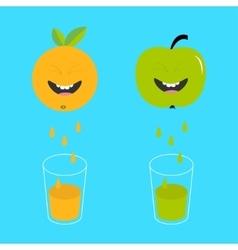 Fresh juice and glasses apple orange fruit vector
