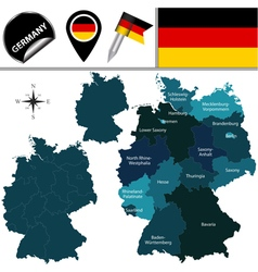Germany map with named divisions vector