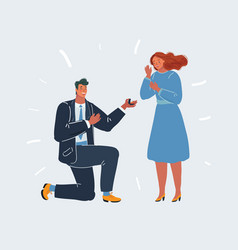 getting up on his knee a man proposes a woman to vector image