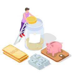 gold ingot cash piggy bank man putting dollar vector image