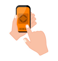 hand holding a smartphone with a voice app vector image