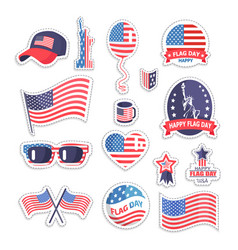 Happy flag day icons set color vector