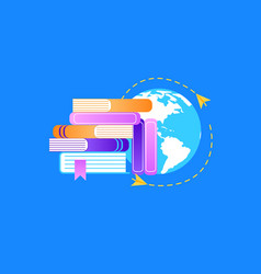heap of textbooks on earth background background vector image