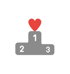 icon concept of heart on first place of winners vector image