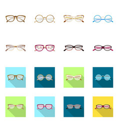 Isolated object glasses and frame symbol set vector