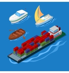 Isometric Icon Set with Ships and Boats vector image